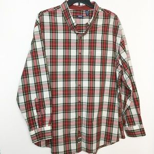IZOD 3XL Casual Button Front Shirt Plaid Heritage